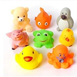 Auch New/Funy Cute Cartoon Animal Style Soft Floating Squeaky Rubber Bath Toys Pack Of 8
