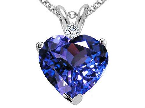 Diamond and Tanzanite Heart Pendant in 14kt White Gold