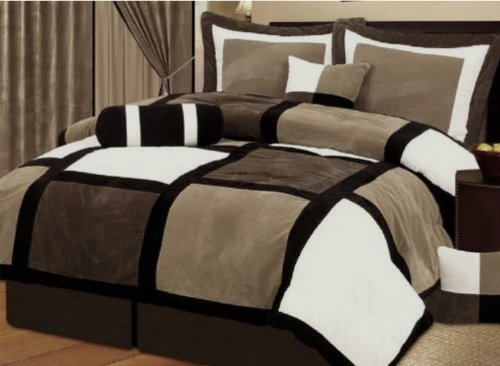Best Prices! 7 Pieces Brown & Beige Micro Suede Patchwork Comforter Set Bed-in-a-bag Washable King S...