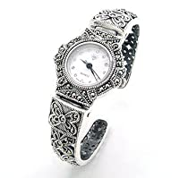 Vintage Deco Style Genuine Marcasite Set Hinged Sterling Silver Cuff Watch Bracelet