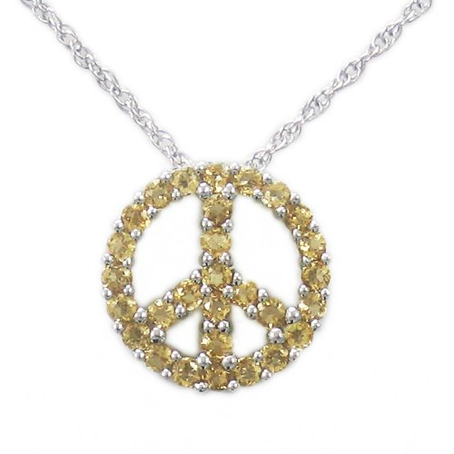 Sterling Silver Citrine Peace-Sign Pendant Necklace , 18