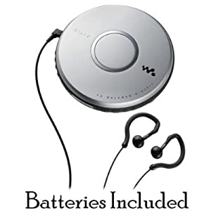 Sony Walkman Skip-Free Portable CD Player with Clip Style Earbud Headphones, LCD Display, Digital Mega Bass Sound, Automatic Volume Limiter System & CD-R/RW Playback - Silver ** Batteries Included **