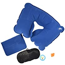 Inflatable Travel Pillow 5 Piece Set Blue