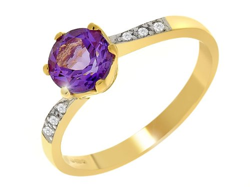 9ct Yellow gold Amethyst and Diamond Ring - Size S