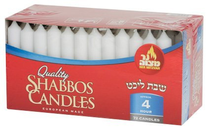 4 Hour White Dripless Paraffin Deluxe Shabbos Tapered Candle