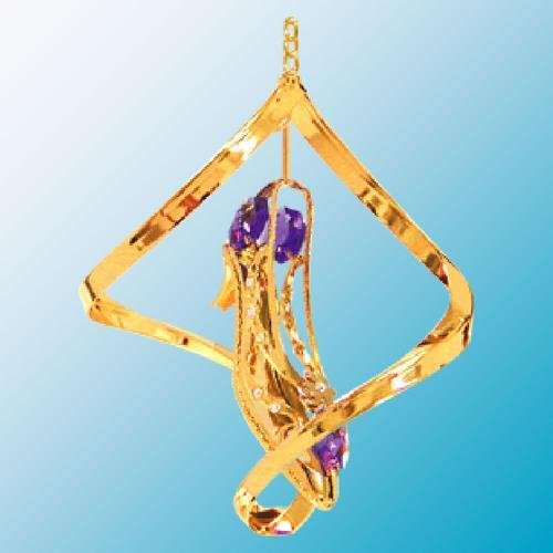 24K Gold Plated Hanging Sun Catcher or Ornament..... Shoe With Purple Swarovski Austrian Crystals in a Spiral
