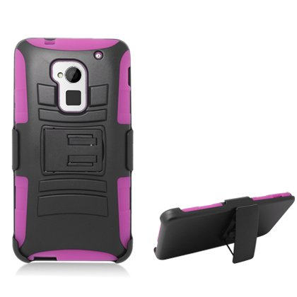 Cell Accessories For Less (Tm) **Pda**For Htc One Max T6 Black Armor W/Stand Hot Pink Skin & Black Belt Clip + Bundle (Stylus & Micro Cleaning Cloth) - By Thetargetbuys