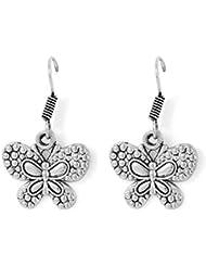 Gemshop Silver Brass Oxidised Finish Dangle & Drop Earrings For Women