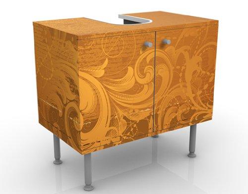 WTD mantiburi Design Waschtisch Goldener Barock  Waschbeckenunterschrank nicht spiegel-/seitenverkehrt / Vollflächiger Premium Print / 60x55x35cm