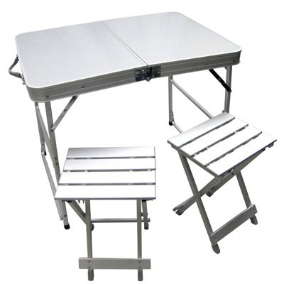 Folding Picnic Table Camping Table and Chairs Portable Table Set (2 Chairs and 1 Table)