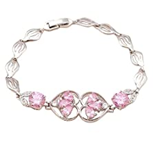 buy Bling Jewellry Charm Watch Tennis Bracelets Pink Topaz Zirconia 18K White Gold Plated Health Nickel Lead Women Tb556A