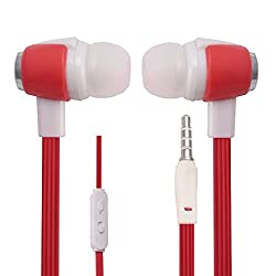 Hello Zone Stereo Bass 3.5 MM Jack Premium Quality Headset Handsfree Headphone Earphone for Dell Streak Pro D43 -Red