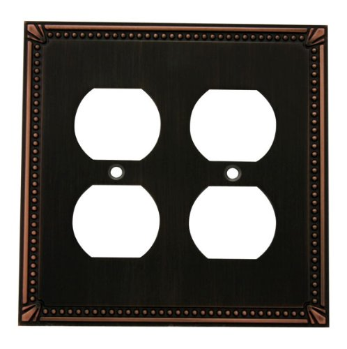 Cosmas 44013-Orb Oil Rubbed Bronze Double Duplex Electrical Outlet Wall Plate