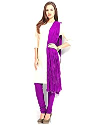 MemSahiba Women Plain Cotton Chudidaar Dupatta Combo (MS-1383_Purple)