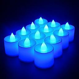 ELlight 12 PCS (1 Dozen Pack) Battery Operated Candles Flameless LED Tealight Candles Votive Style Romantic Date, Blue Light