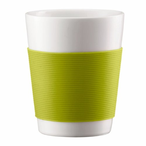 Bodum Canteen Porcelain Double Wall Espresso Cup with Silicone Grip, Green, Set of 2