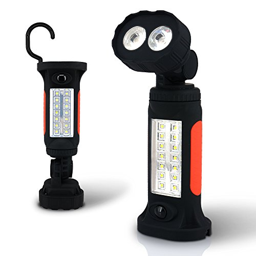 Bevan LED Camping Light,Hands-Free Garage COB LED Work Light Flashlight for Auto,Garage,Emergencies,Workshop with Adjusting Stand, Hanging Hook and Magnet Base (1-Pack)