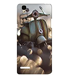 EPICCASE Vintage scooter love Mobile Back Case Cover For Oppo F1 (Designer Case)
