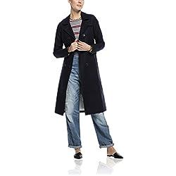 Maison Scotch Damen Trenchcoat Mantel 16210110705, Gr. 36 (Herstellergröße: 1), Schwarz (night 58)