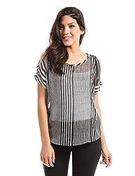 Prym Women's Body Blouse Shirt (1011517701_Black and White Stripe_X-Large)
