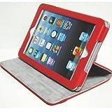 iPad mini ケース/アイパッド ミニ/スタンドC2型/高級合皮製/牛皮模様/モニター回転式/レッド/赤色