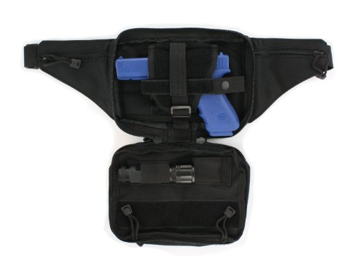 Black Tactical Pistol Concealment Fanny Pack - CCW Concealed Carry Gun Pouch with Holster by Roma