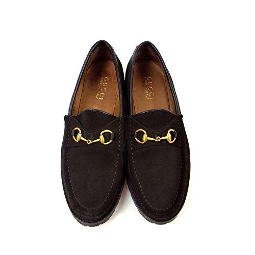 (グッチ)GUCCI スェード ホース ビット ローファー 7 1/2 24.5cm ブラック レディース 靴