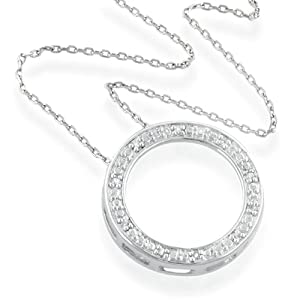 "Sterling Silver & Diamond Accent Circle Pendant with 18"" Chain"