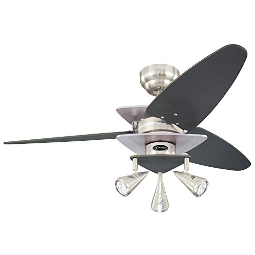 Westinghouse Lighting 7850700 Vector Elite Three-Light 42-Inch Reversible Three-Blade Indoor Ceiling Fan, Brushed Nickel and Graphite with Spotlights