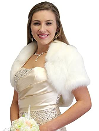 Amazon.com: Faux Fox Fur Bridal Bolero Crop Jacket: Clothing