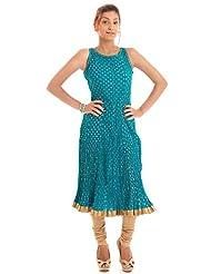 Naksh Jaipur Cotton Casual Sleeveless Gold Print Blue Kurti
