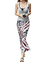 Women Buttons Closure Knit Top w American Flag Prints Straight Skirt