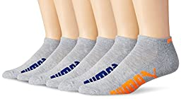 Puma Socks Men\'s Low Cut Socks, Grey/Orange, 10-13/6-12 (Pack of 6)