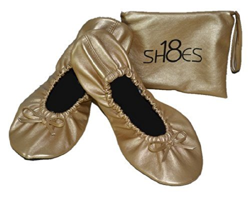 Shoes 18 Women's Foldable Portable Travel Ballet Flat Shoes w/ Matching Carrying Case (11, Gold sh18-1)