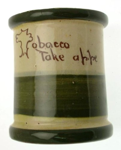 Vintage Longpark Art Ware Art Pottery Motto Ware Tobacco Jar - Missing Lid - With Ship Pattern - Bournemouth Tobacco Take A Pipe - Clt618