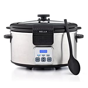 BELLA 13722 Programmable Slow Cooker with Locking Lid, 6-Quart, Stainless Steel and Black by BELLA