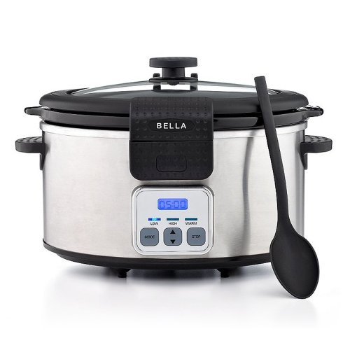 BELLA 6 Quart Programmable Locking Lid Slow Cooker, Stainless Steel (Bella Crock compare prices)