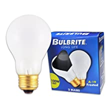 Bulbrite 100A 100-Watt 130-Volt Long Life Standard Incandescent A19 2-Pack, Frost