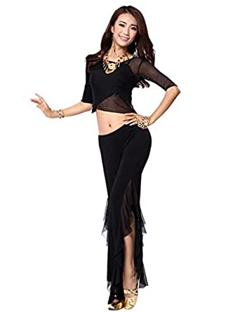 Women's Sexy Fitted Belly Dance Performance Costume Indian Dance Two-piece Tops and Open Fork Pants