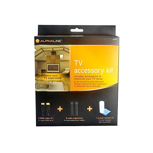 AlphaLine TV Accessory Kit (1 HDMI cable, 8 cable organizers, 1 screen cleaner kit)