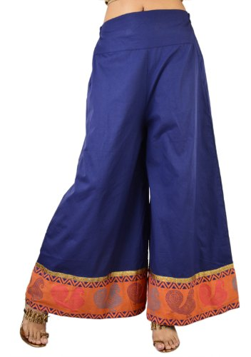 "9rasa Women's Cotton Hand Block Printed Blue Palazzo-24"" To 26\"" (multicolor)"