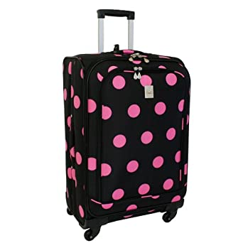 Jenni Chan Dots 360 Quattro 28 Inch Upright Spinner Luggage, Black/Pink, One Size