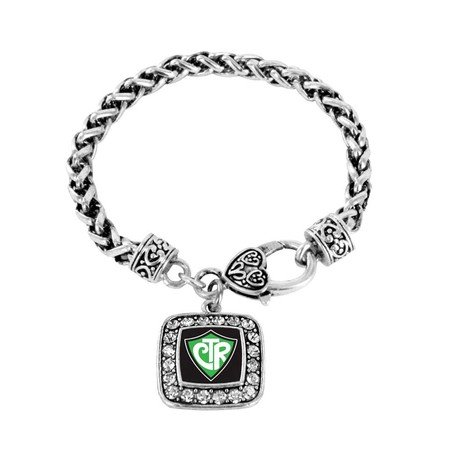 CTR 'Choose the Right' Mormon LDS Charm Classic Silver Plated Square Crystal Bracelet