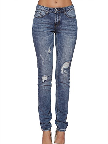 Alice & Elmer Light Blue Ripped Mid-Rise Skinny Jeans-Vaqueros para mujer 29