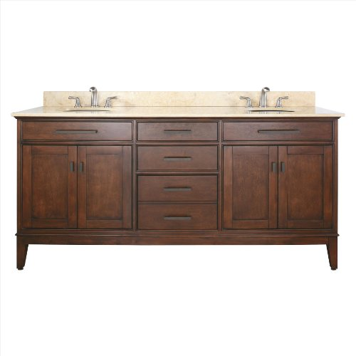 Avanity MADISON-VS72-TO-C 72-Inch Vanity with Carrera White Marble Top and Double Sinks