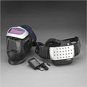 Adflo Powered Air Purifying Respirator High Efficiency Multi Gas And Vapor System With Speedglas FlexView HWR Welding Helmet With Aide Windows And Extra Large Auto-Darkening Welding Lens