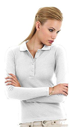 Polo Maniche Lunghe Sportiva Donna Cotone Piquet B&C Safran Maglia Manica Lunga, Colore: Bianco, Taglia: M