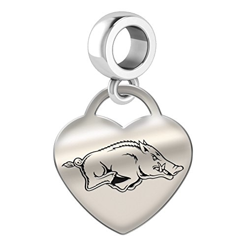 Arkansas Razorbacks Heart Dangle Charm Fits All European Style Bead Charm Bracelets