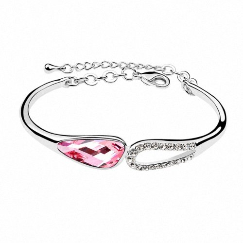 TAOTAOHAS- [ Search Name: Poem of Cloud ] (1PC) Crystallized Swarovski Elements Austria Crystal Bangle Bracelet, Made of Alloy Plated with 18K True Platinum / White Gold and Czech Rhinestone