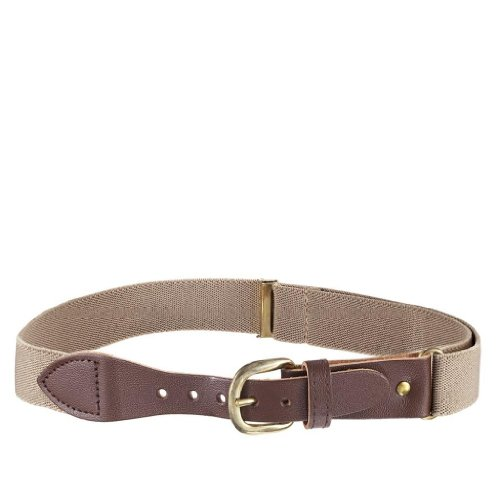 Albert's Kids Elastic Stretch Belt with Leather Closure - Tan